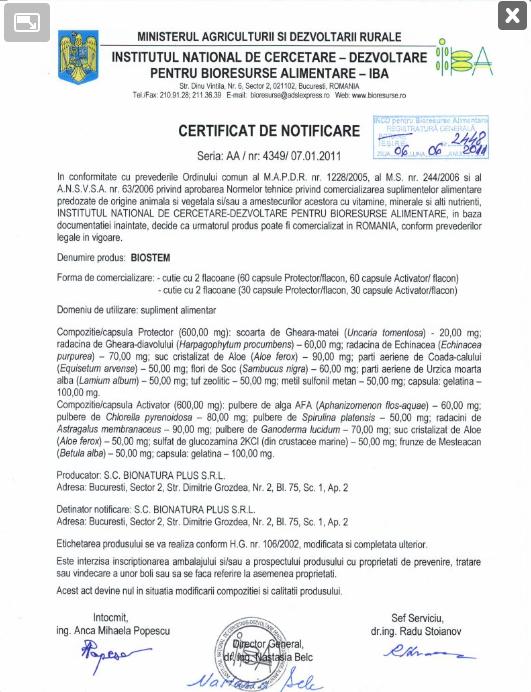 Certificat de Notificare- Biostem