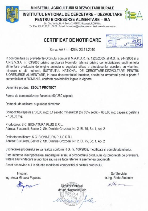 Certificatul de Notificare Zeolit